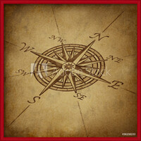 Gerahmte Poster  Compass rose in perspective with grunge texture