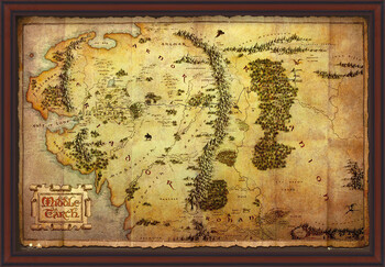 Gerahmte Poster The Hobbit - Middle Earth Map